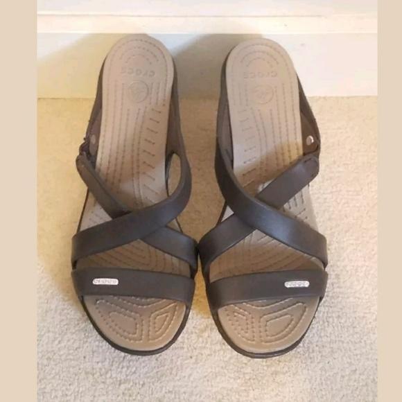 219f2004758b CROCS Shoes - Crocs 9 brown sandals slides heels shoes rubber